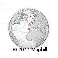 """Outline Map of the Area around 41° 43' 14"""" N, 9° 16' 30"""" W, rectangular outline"""