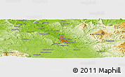 """Physical Panoramic Map of the area around 41°25'39""""S,147°7'30""""E"""