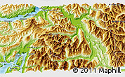 """Physical 3D Map of the area around 41°51'59""""S,72°10'30""""W"""