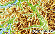 """Physical Map of the area around 41°51'59""""S,72°10'30""""W"""