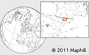 """Blank Location Map of the area around 42°9'30""""N,0°55'29""""E"""
