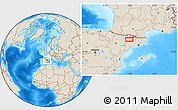 """Shaded Relief Location Map of the area around 42°9'30""""N,0°55'29""""E"""
