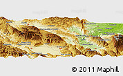 """Physical Panoramic Map of the area around 42°9'30""""N,13°40'30""""E"""