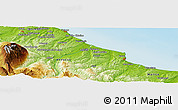 """Physical Panoramic Map of the area around 42°9'30""""N,14°31'30""""E"""