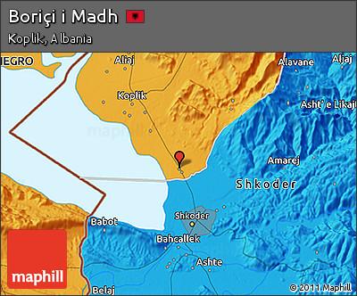 Political 3D Map of Boriçi I Madh
