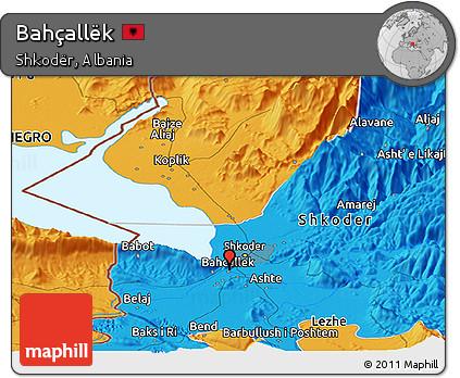 Political Panoramic Map of Bahçallëk