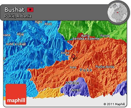 Political Panoramic Map of Bushat