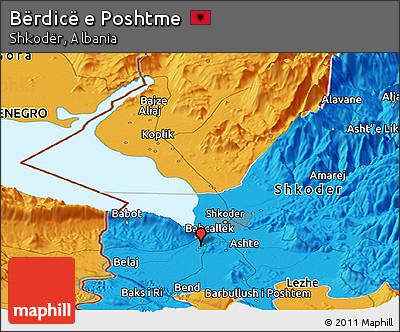 Political Panoramic Map of Bërdicë E Poshtme