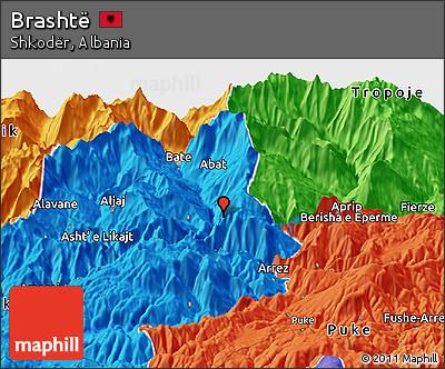 Political Panoramic Map of Brashtë