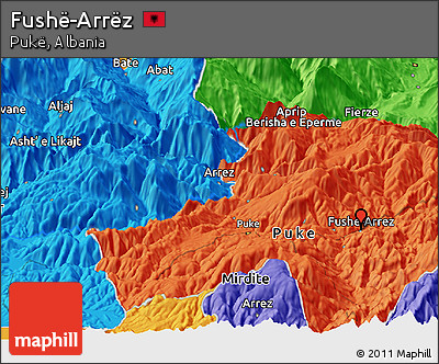 Political Panoramic Map of Fushë-Arrëz