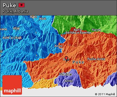 Political Panoramic Map of Pukë