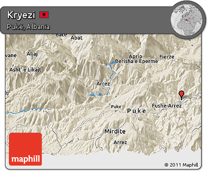 Free Shaded Relief Panoramic Map of Kryezi