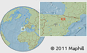 Savanna Style Location Map of Murchante, hill shading
