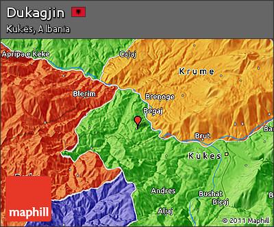 Political 3D Map of Dukagjin