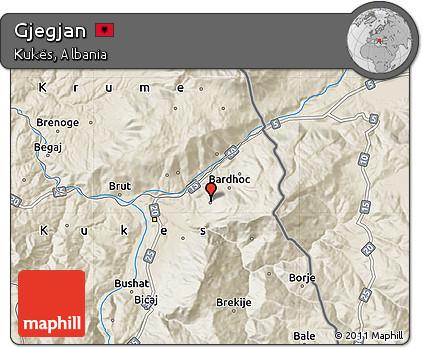 Shaded Relief Map of Gjegjan
