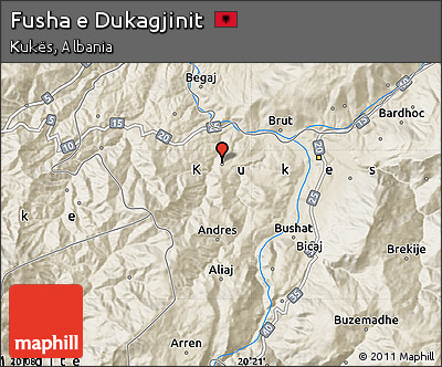 Shaded Relief Map of Fusha E Dukagjinit