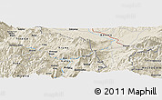 Shaded Relief Panoramic Map of Bushat