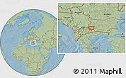 Savanna Style Location Map of Radlovtsi, hill shading