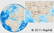 Shaded Relief Location Map of Radlovtsi