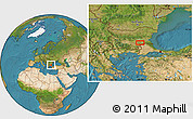 """Satellite Location Map of the area around 42°9'30""""N,26°25'29""""E"""