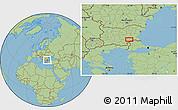 "Savanna Style Location Map of the area around 42°9'30""N,26°25'29""E"