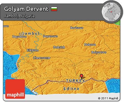 Free Political Panoramic Map of Golyam Dervent