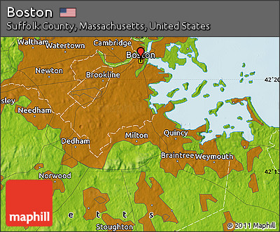 Free Physical Map Of Boston - Massachusetts physical map