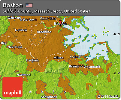 Physical Map Of Boston Physical Map Of Boston