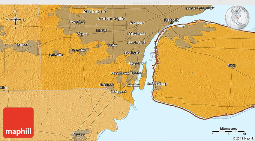 Political 3D Map of Detroit
