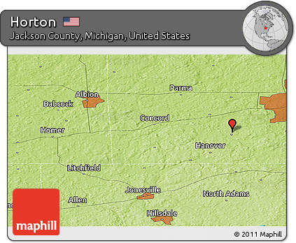 Concord Michigan Map.Free Physical Panoramic Map Of Horton