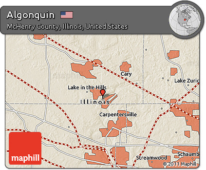 Algonquin Illinois Map.Free Shaded Relief 3d Map Of Algonquin