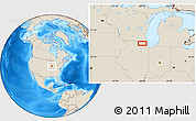 """Shaded Relief Location Map of the area around 42°9'30""""N,88°19'29""""W"""