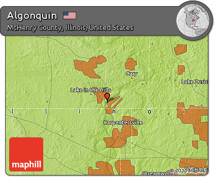 Algonquin Illinois Map.Free Physical Map Of Algonquin