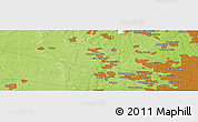 """Physical Panoramic Map of the area around 42°9'30""""N,88°19'29""""W"""