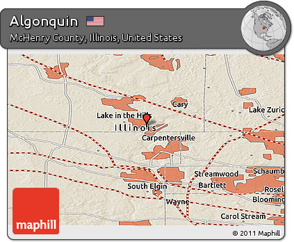 Algonquin Illinois Map.Free Shaded Relief Panoramic Map Of Algonquin