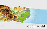 """Physical Panoramic Map of the area around 42°9'30""""N,9°25'30""""E"""