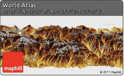 """Physical Panoramic Map of the Area around 42°35'40""""N,0°55'29""""E"""