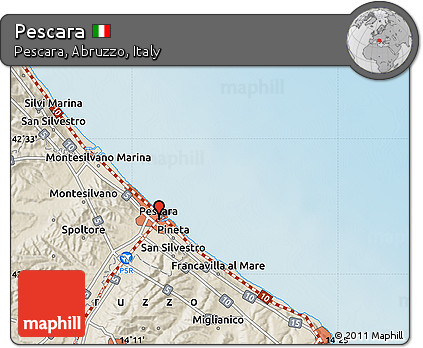 Free Shaded Relief Map of Pescara