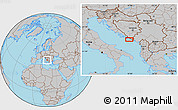Gray Location Map of Trebinje