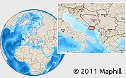 Shaded Relief Location Map of Trebinje