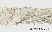 Shaded Relief Panoramic Map of Lëpushë