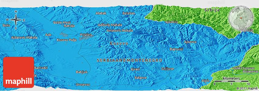 Political Panoramic Map Of Priština - pristina map