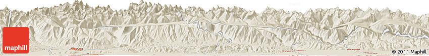 Shaded Relief Horizon Map of Këk-Dzhar