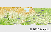 """Physical Panoramic Map of the area around 42°18'13""""S,147°7'30""""E"""