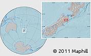 Gray Location Map of Kaikoura, hill shading