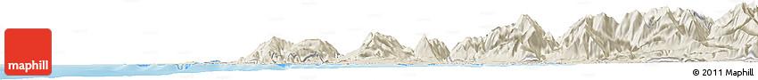 Shaded Relief Horizon Map of Hokitika