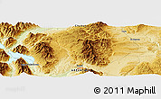"""Physical Panoramic Map of the area around 42°44'20""""S,71°19'29""""W"""
