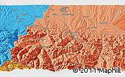 Political 3D Map of Pontacq