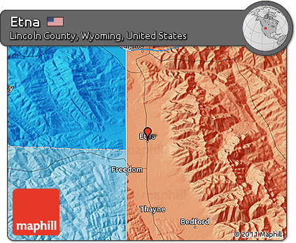 Lincoln County Wyoming Map.Free Political 3d Map Of Etna