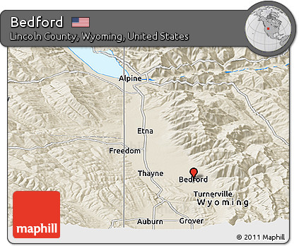 Lincoln County Wyoming Map.Free Shaded Relief Panoramic Map Of Bedford